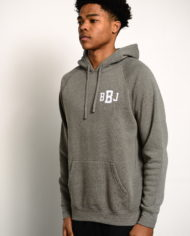 BBJ Monogram Hoodie Front – Heather